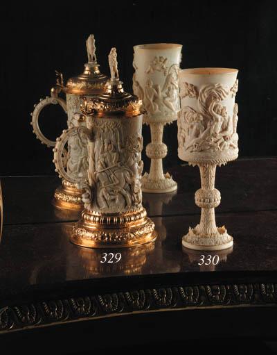 A German silver-gilt mounted ivory tankard