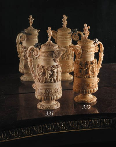 A French silver-mounted ivory