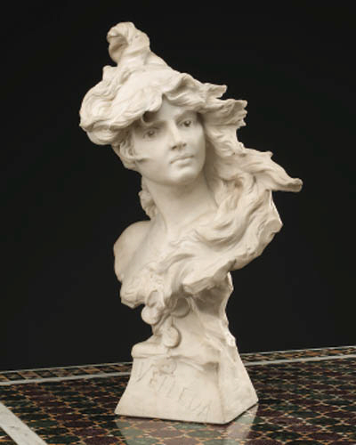 A French white marble bust of a lady entitled 'Vellda'