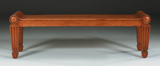 A REGENCY MAHOGANY HALL STOOL
