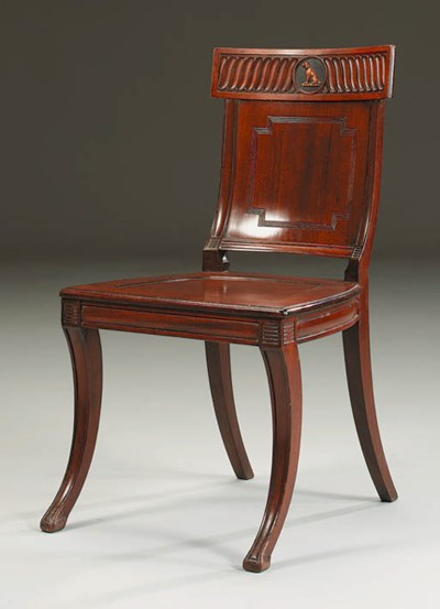 A REGENCY MAHOGANY HALL CHAIR