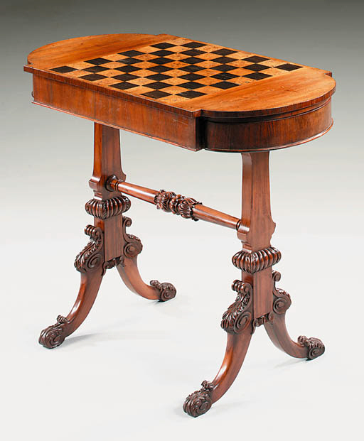A REGENCY MAHOGANY GAMES-TABLE