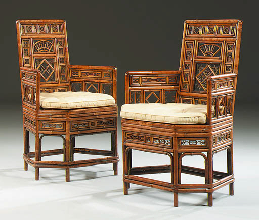 A PAIR OF CHINESE-EXPORT BAMBO