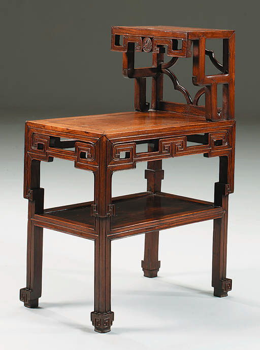 A CHINESE HARDWOOD TWO-TIER ST
