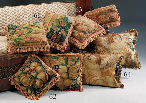 TWO FLEMISH TAPESTRY CUSHIONS