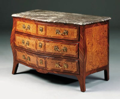 A GERMAN FRUITWOOD AND BURR-BI