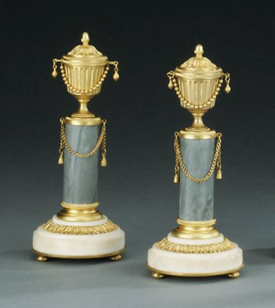 A PAIR OF ORMOLU, WHITE AND BA