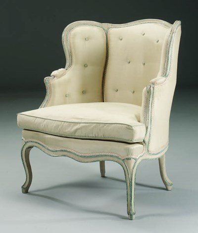 A LOUIS XV WHITE AND BLUE-PAIN