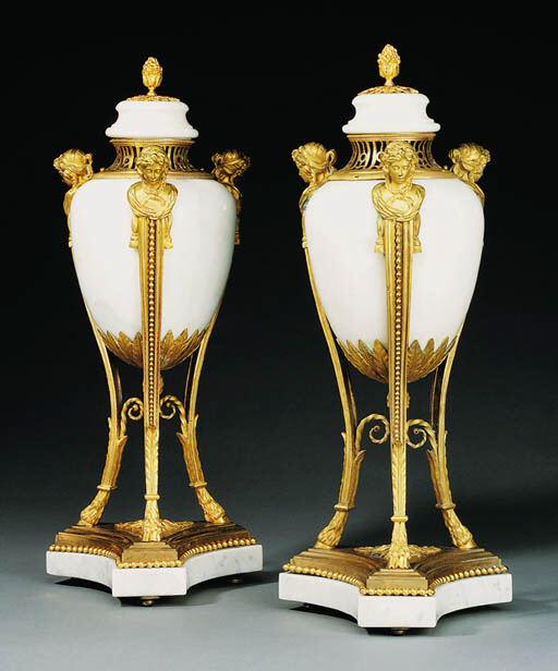 A PAIR OF SWEDISH ORMOLU-MOUNT