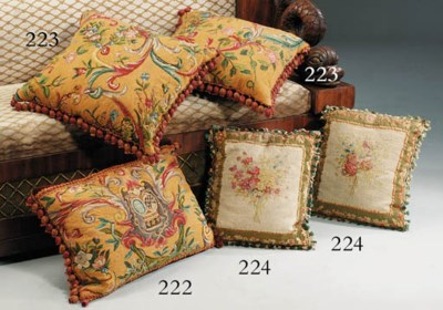 A FRENCH TAPESTRY CUSHION