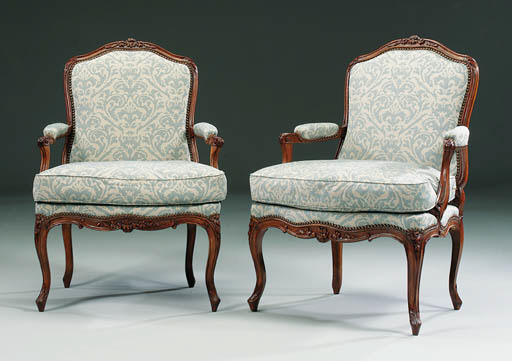 A PAIR OF STAINED-BEECH FAUTEU