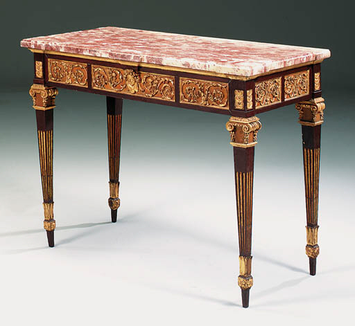 AN ITALIAN PARCEL-GILT AND RED