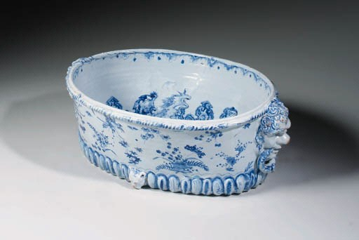 A FRENCH NEVERS FAIENCE BLUE A