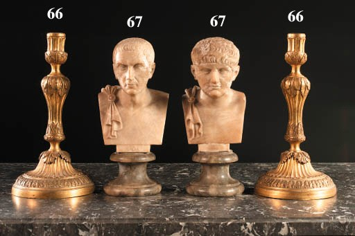 TWO ITALIAN ALABASTER BUSTS OF