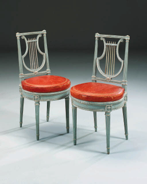 A PAIR OF LOUIS XVI BLUE AND G