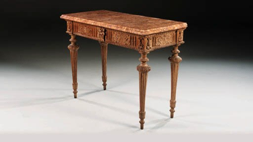 AN ITALIAN GRAINED SIDE TABLE