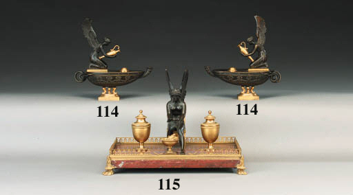 A PAIR OF ORMOLU AND BRONZE OI