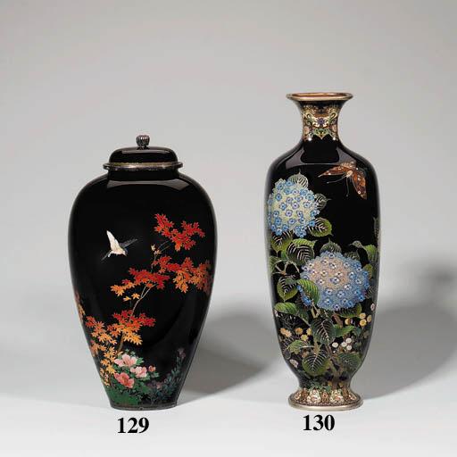 A fine dark blue cloisonn vase