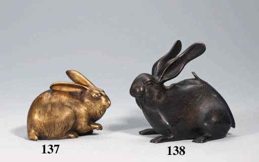 A gilt bronze model of a hare
