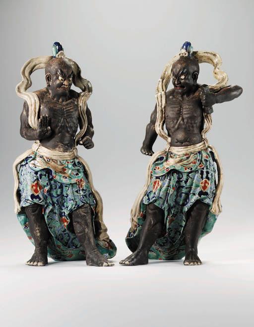 A pair of large stoneware Ni-o