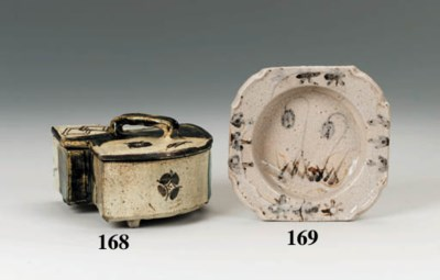 An Oribe fan-shaped box and co