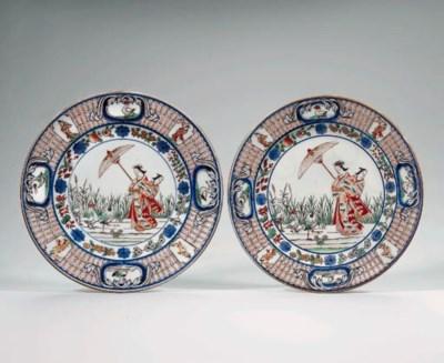 A pair of Imari dishes