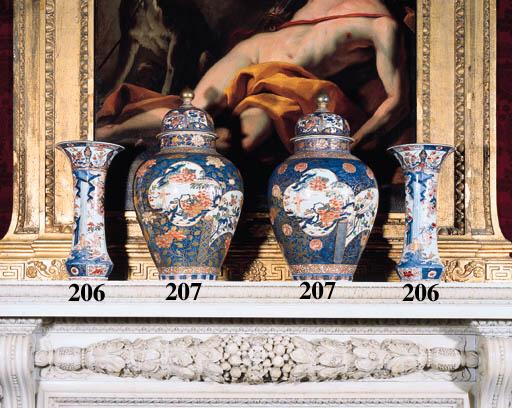 A Pair of Imari trumpet vases