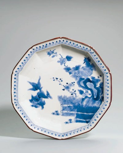 A Kakiemon blue and white dish