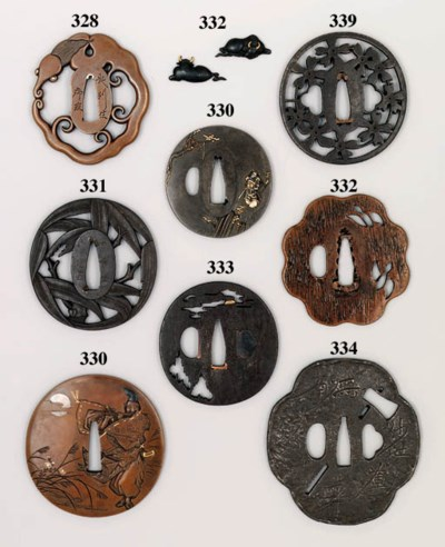 A MYOCHIN TSUBA AND SIX OTHERS