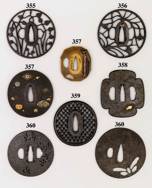A HIRATA SCHOOL TSUBA AND SIX