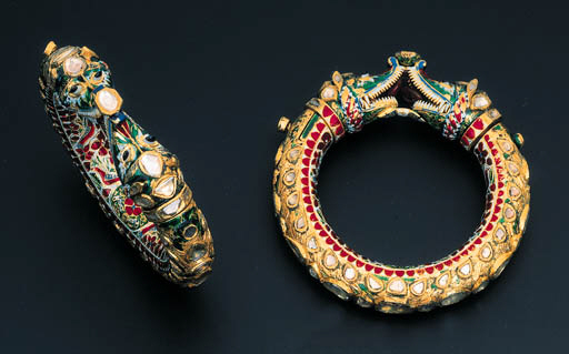 A PAIR OF DIAMOND AND ENAMEL M