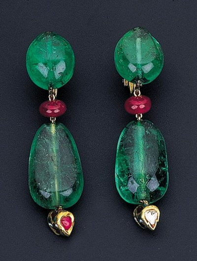 A PAIR OF EMERALD, RUBY AND EN