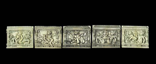 FORTY-TWO CARVED IVORY EROTIC