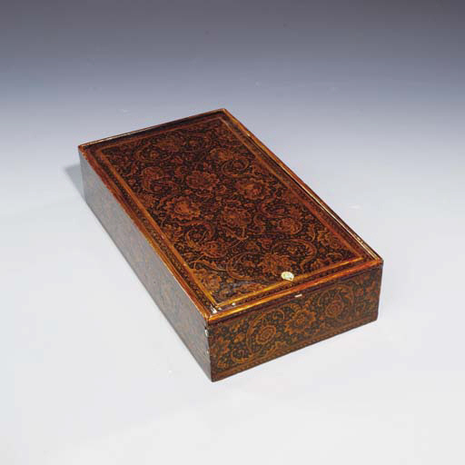 A LARGE LACQUER SCRIBE'S BOX