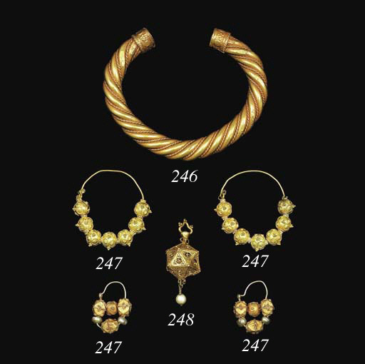 TWO PAIRS OF SAMANID GOLD EARR