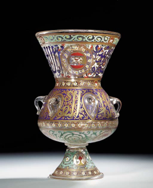 A MAMLUK STYLE ENAMELLED AND G