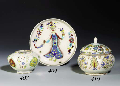 A KUTAHYA POTTERY TEAPOT WITH