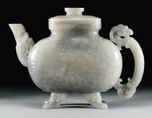 AN UNUSUAL GREY JADE EWER AND
