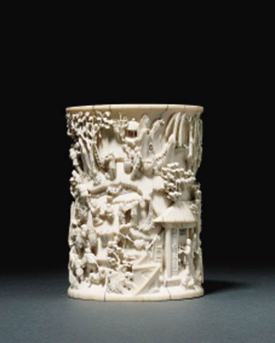 2 WELL-CARVED IVORY BRUSHPOT,