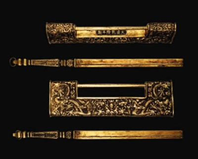 A PAIR OF IMPERIAL GILT-BRONZE
