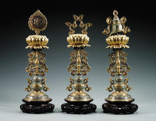 THREE CLOISONNE ENAMEL AND GIL