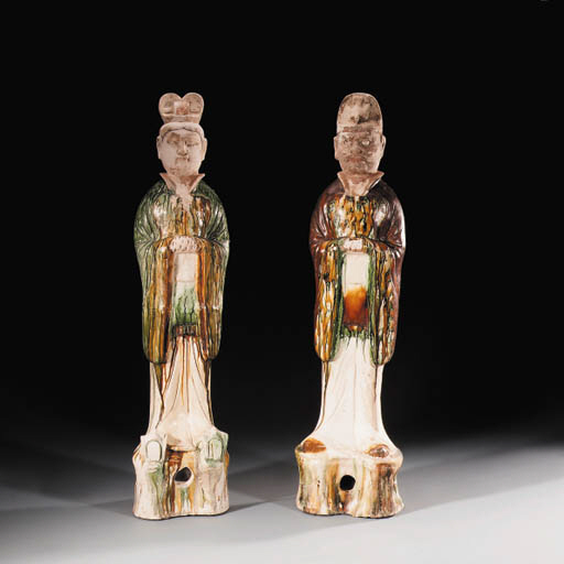 A PAIR OF SANCAI-GLAZED FIGURE