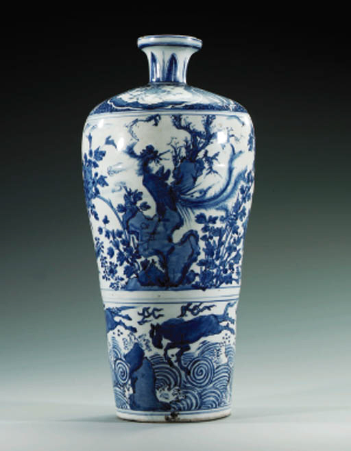 A LATE MING BLUE AND WHITE MEI