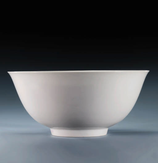 A RARE MING WHITE-GLAZED BOWL