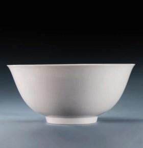 A RARE MING WHITE-GLAZED BOWL