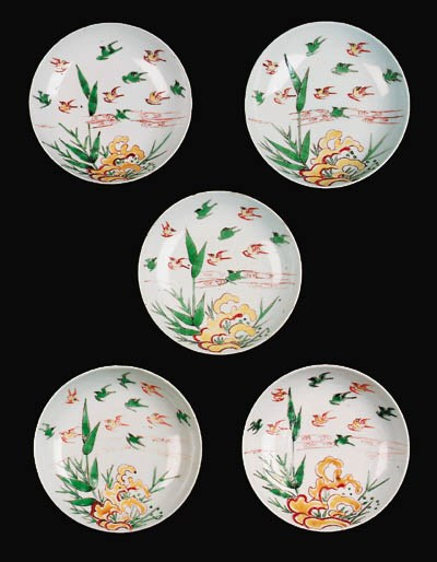 A SET OF FIVE LATE MING ENAMEL