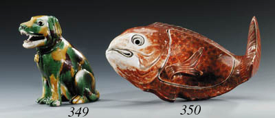 AN IRON-RED 'CARP' TUREEN AND