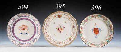 A FAMILLE ROSE ARMORIAL SAUCER