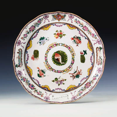 A FAMILLE ROSE ARMORIAL DISH