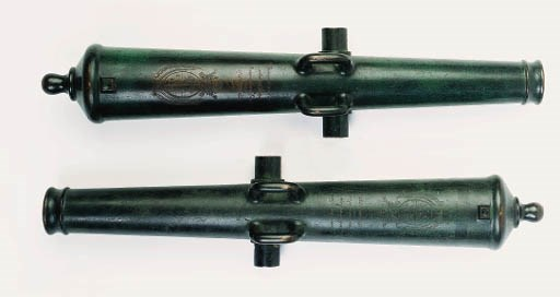 A Pair Of Bronze Cannon Barrel